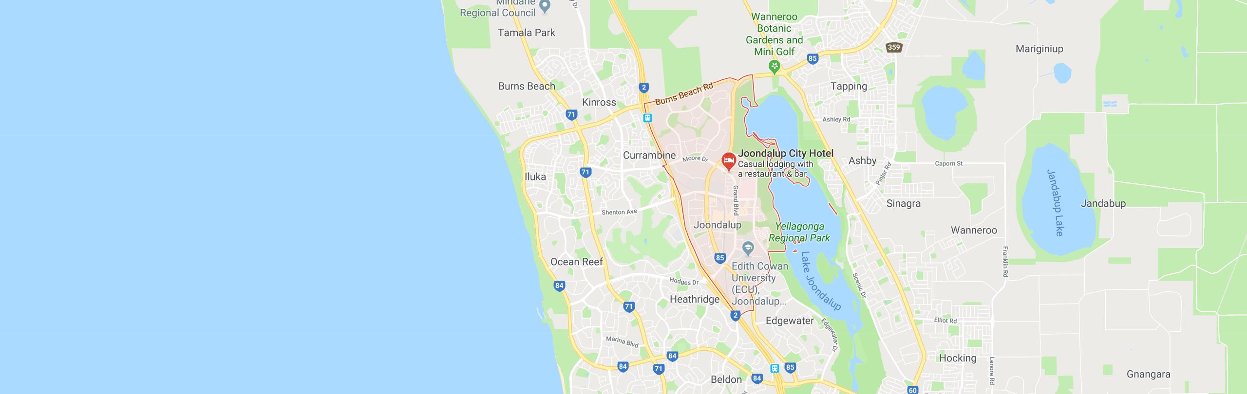 Google Map of Joondalup,Western Australia, Australia