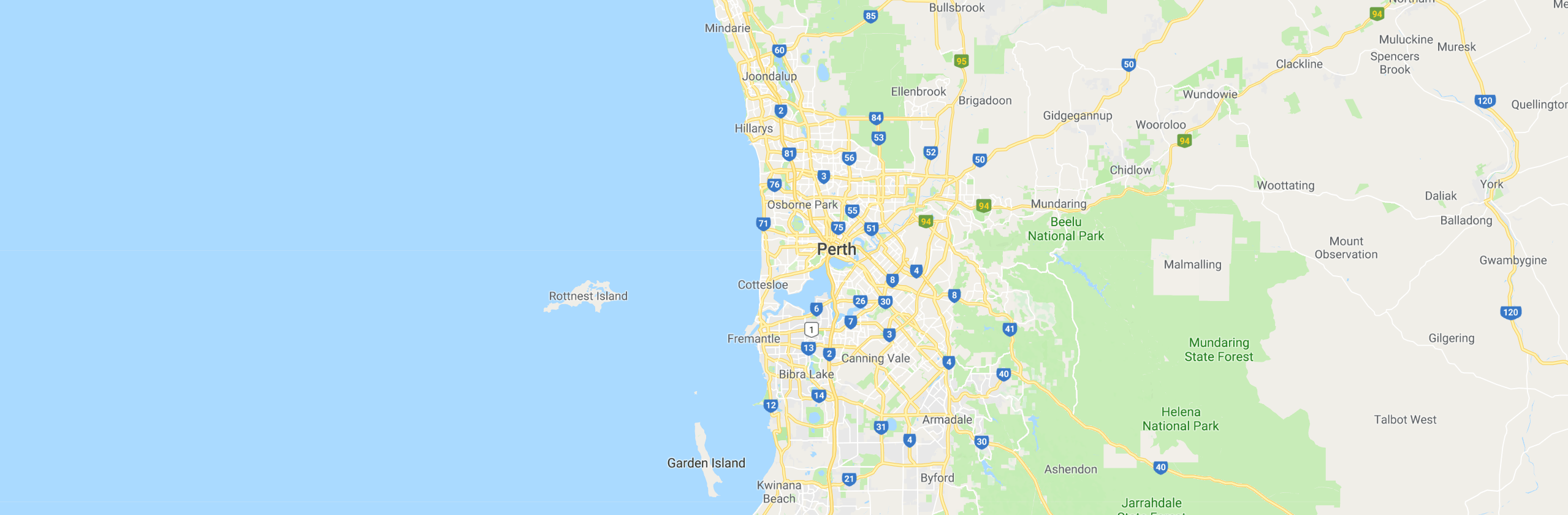 Google Map of Northern Suburbs,Western Australia, Australia