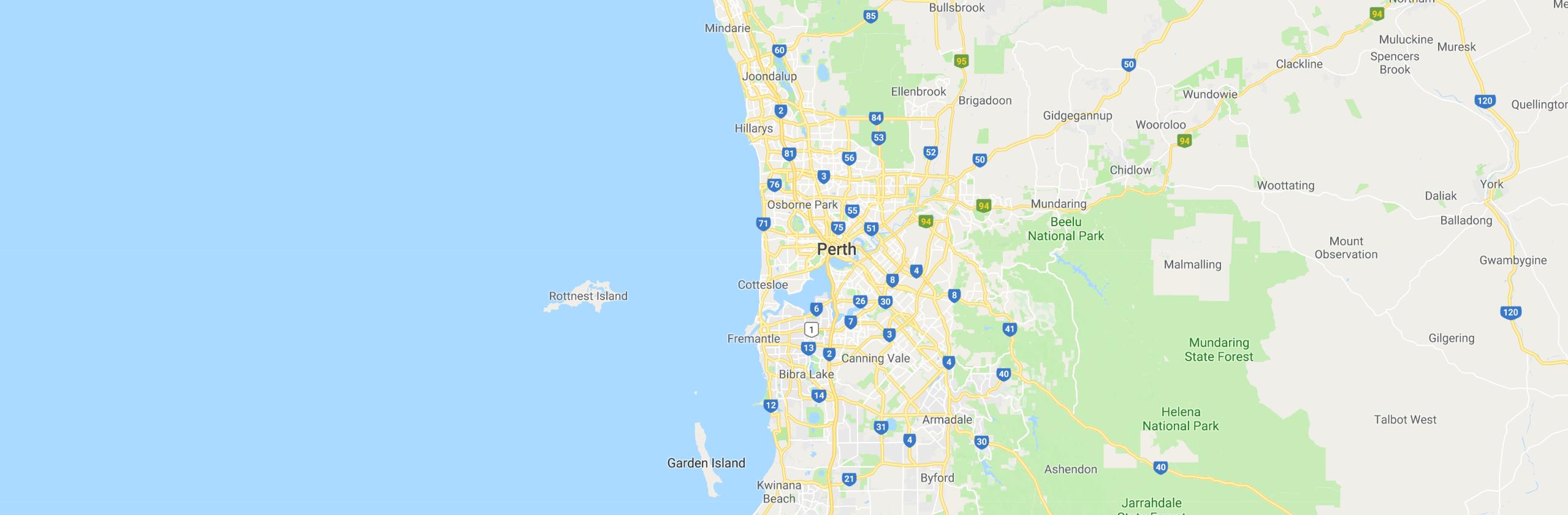 Google Map of Northern Suburbs,Western Australia, Australia